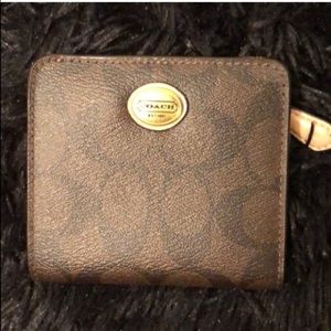 COACH Brown & Beige Signature Card & Coin Wallet